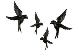 BePureHome Avaler Vogels Set van 4 Wanddecoratie
